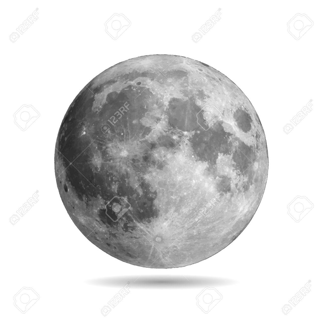 Realistic full moon with shadow vector eps10. Vector illustration. Elements of this vector furnished by NASA - 67824022