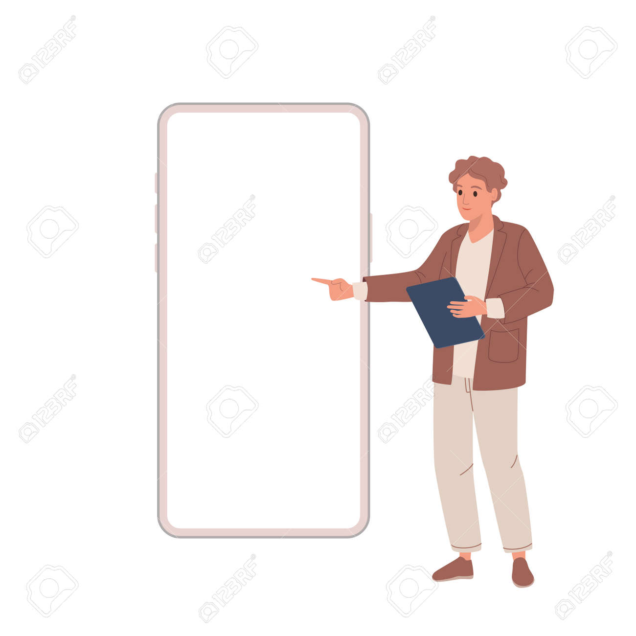 Digital marketing. Young guy makes presentation shows on smartphone - 153582181