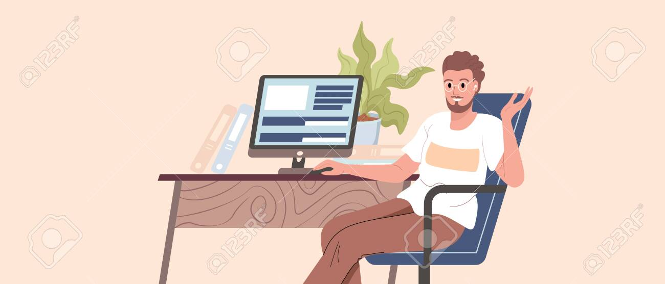 Programmer, coder, web developer or software engineer sitting at desk and working on computer or programming. Young guy works from home vector - 153554706