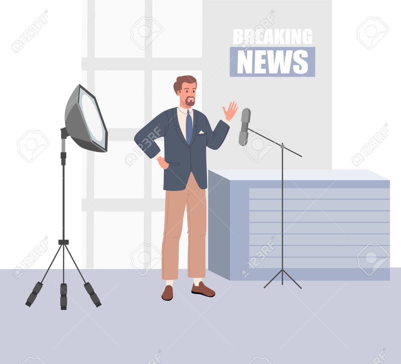 TV news studio with broadcaster. Vector illustration - 153582183