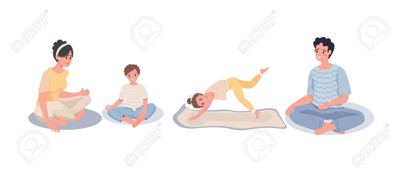 Family sitting in meditation. Family doing yoga at home - 153554845