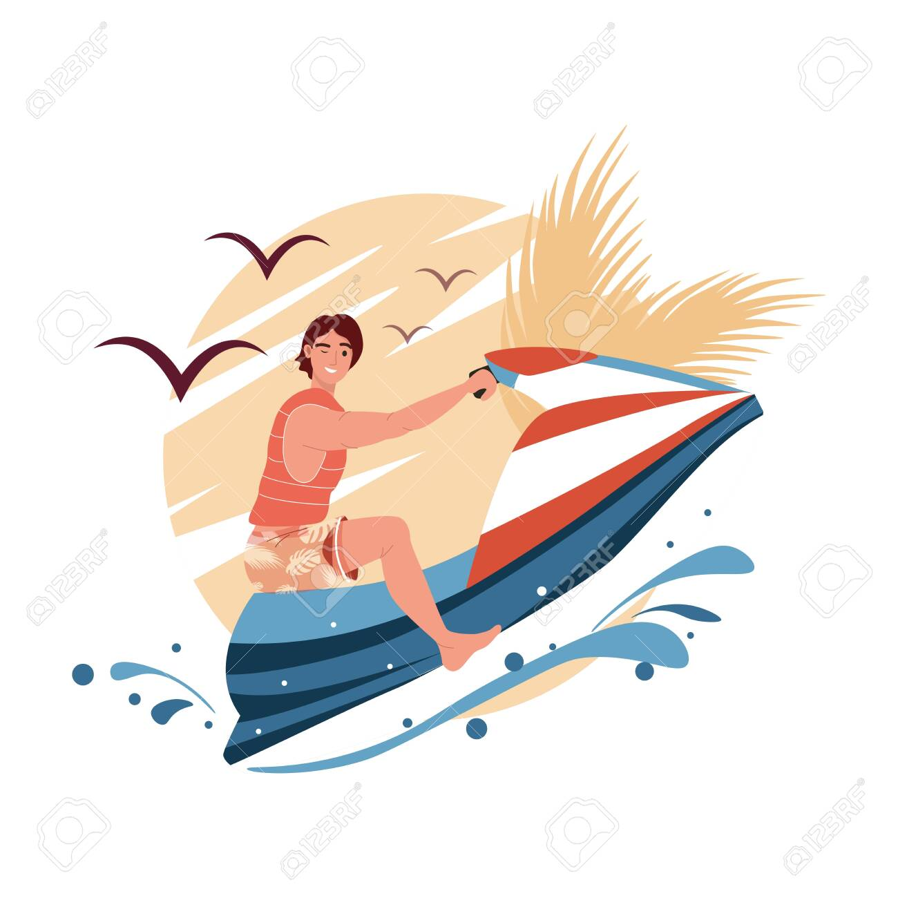 Young man ride hydro cycle in sea vector. Jetski landscape cover design. Summer holiday on water scooter ocean waves cartoon illustration. Character racing water scooter vector - 153582216
