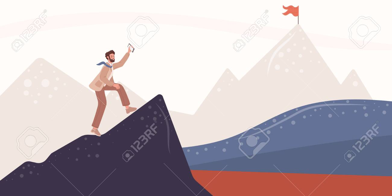 Young man traveler or explorer standing, businessman on top of mountain or cliff and looking on valley or goal, flag. Business or marketing concept. Flat vector illustration - 153554761
