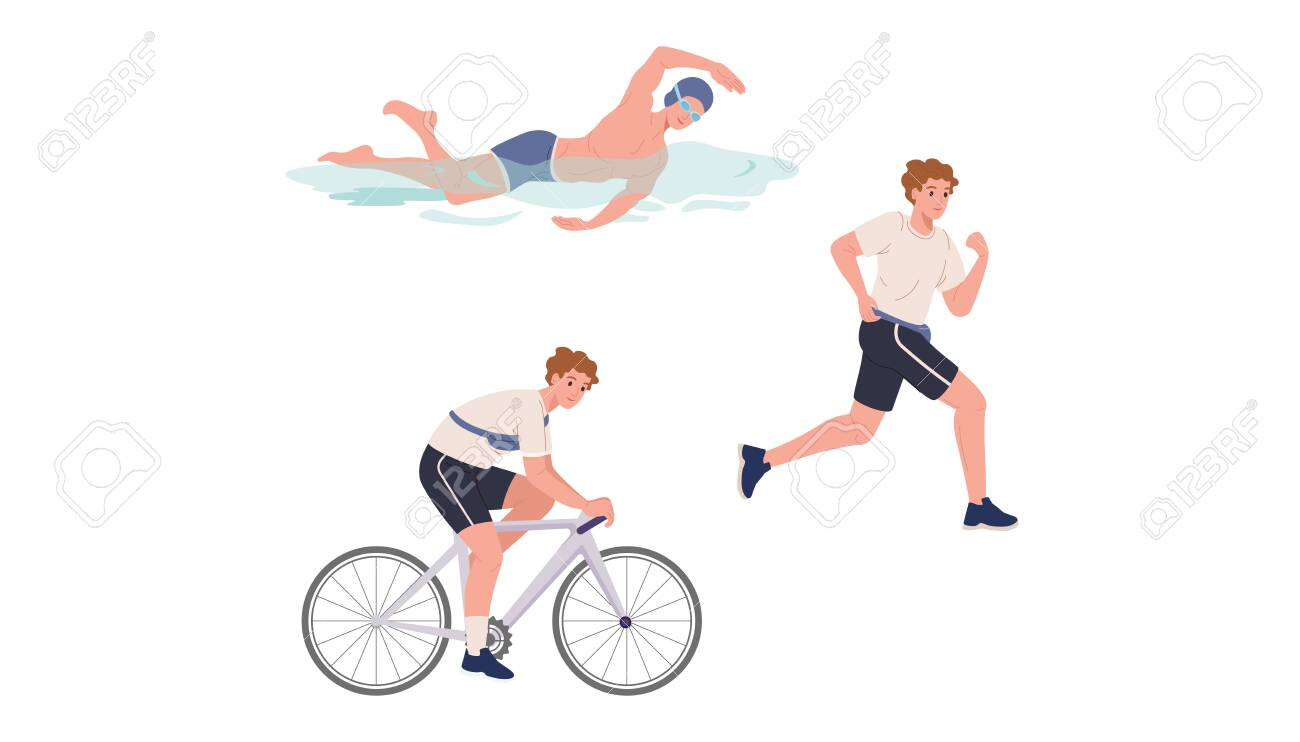 Young athlete is swimming, running and cycling - 153554698