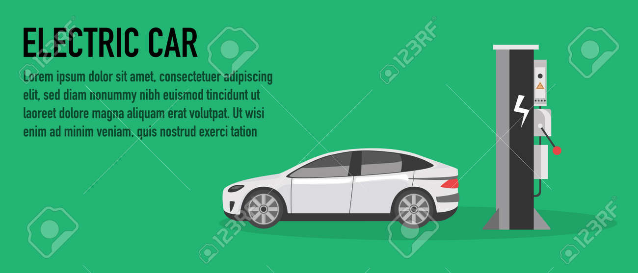 Concept charge station for electric cars. Vector illustration - 157265970