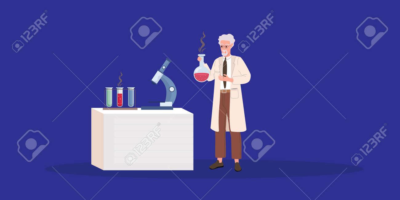 Crazy old scientist. Crazy doctor. Cartoon vector illustration - 157266150