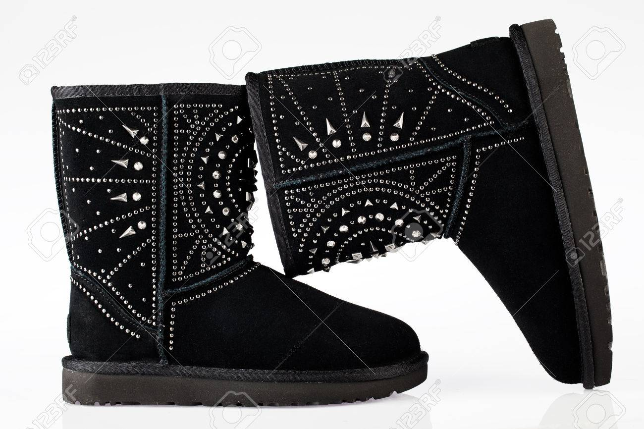 820640cfb08 UGG Women's Fiore Deco Studs Suede Boots black isolated on white