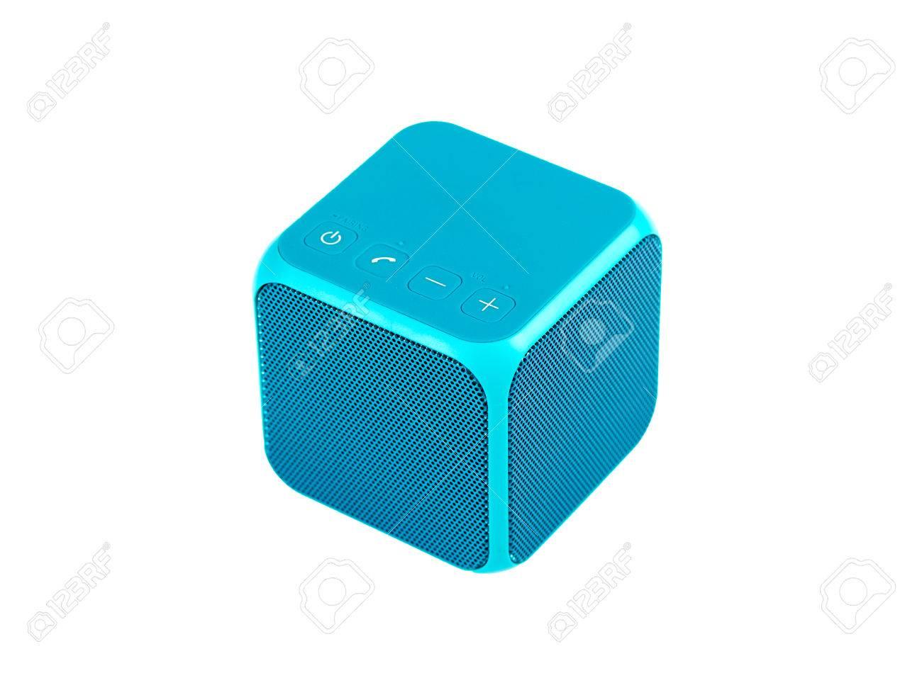 Blue bluetooth speaker cube isolated on white background