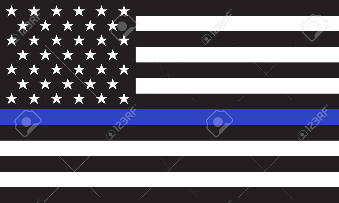 Vector American Police Flag - 93087251