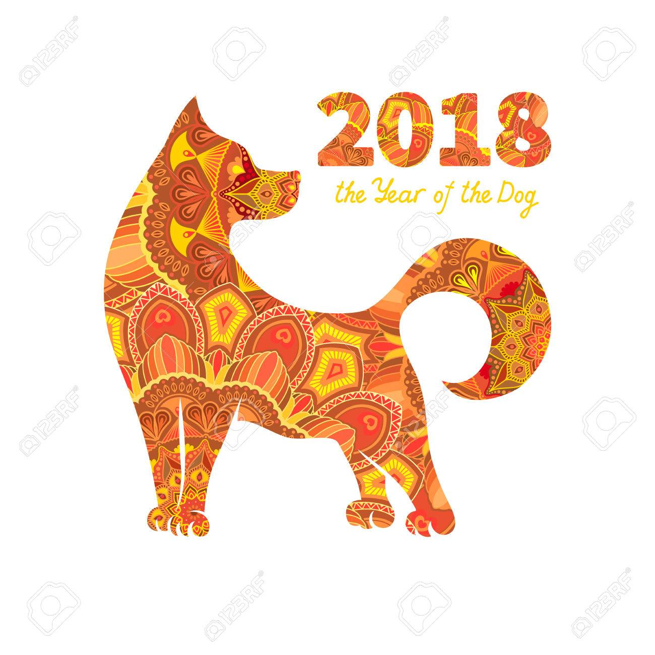 dog is a symbol of the 2018 chinese new year design for greeting cards - Chinese New Year Symbols