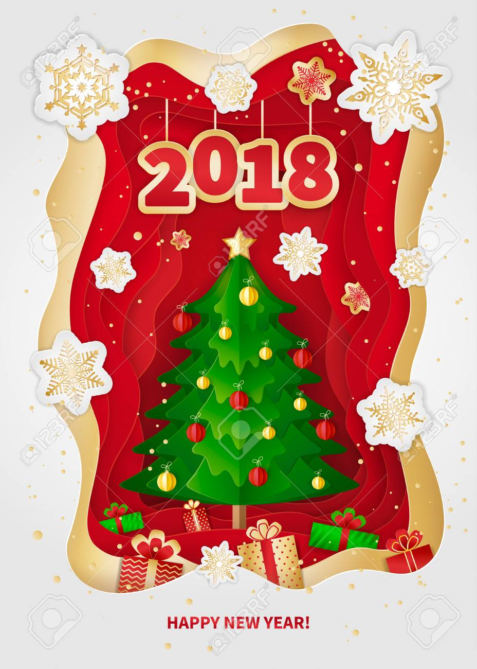New Year 2018 Greeting Card Design. Christmas Tree, Decorations, Gifts And  Snowflakes.
