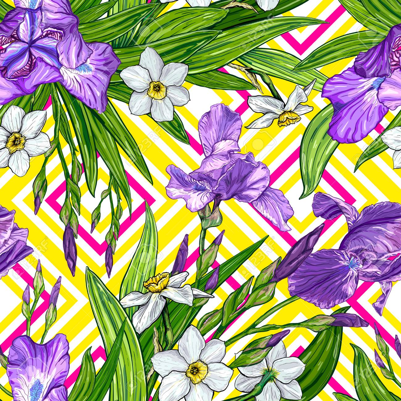 Seamless Pattern With Iris And Narcissus Flowers On A Geometric