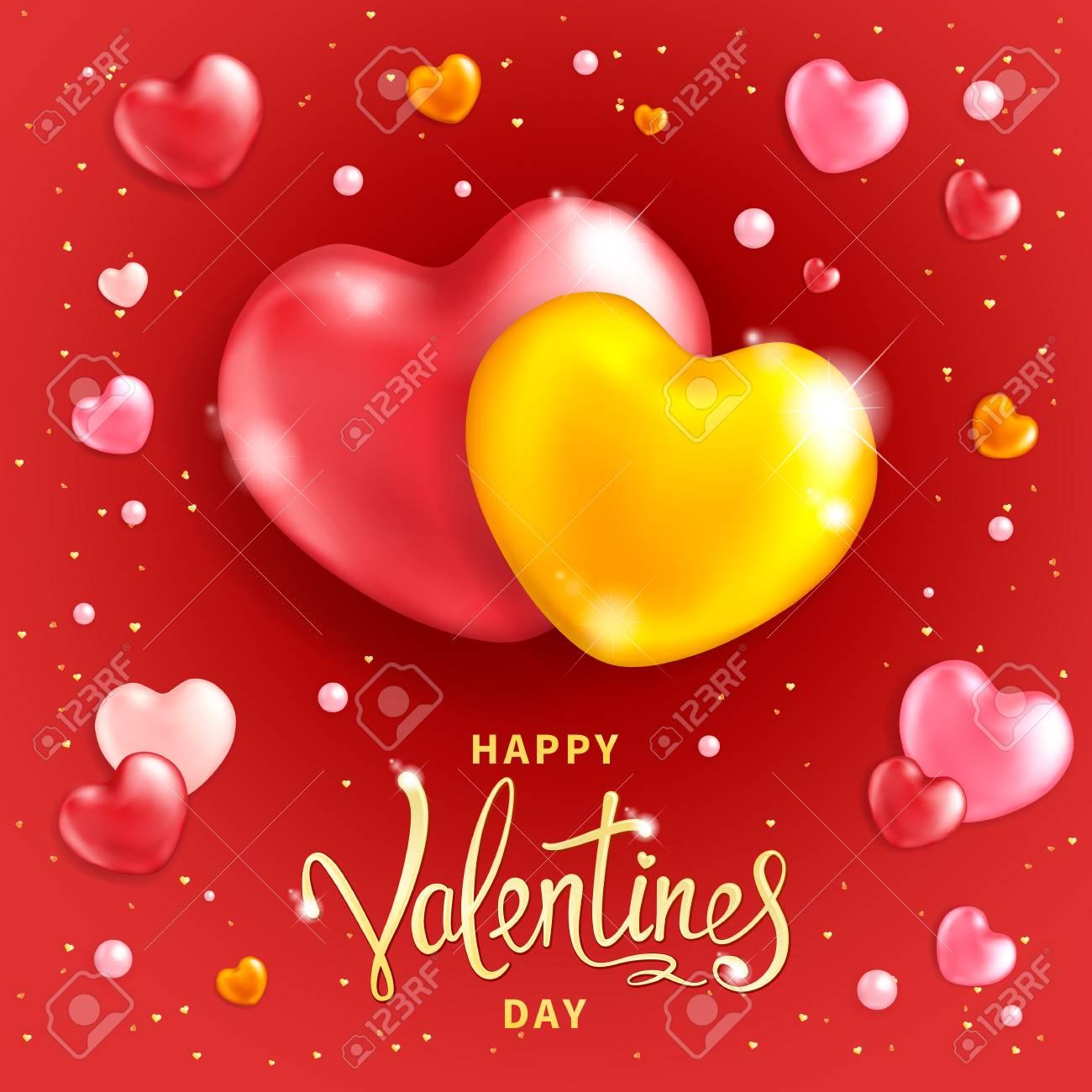 Feliz Día De San Valentín De Fondo Dos Corazones Grandes Símbolo