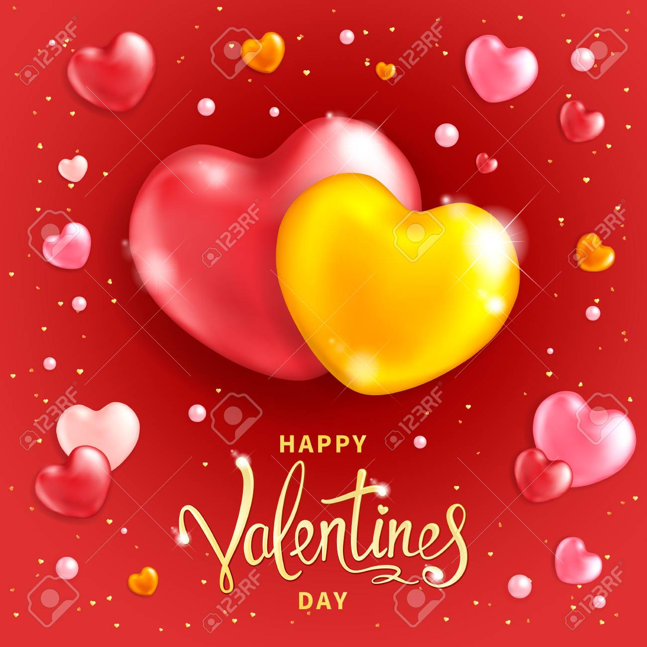Happy Valentines Day Background Two Large Hearts Symbol Of
