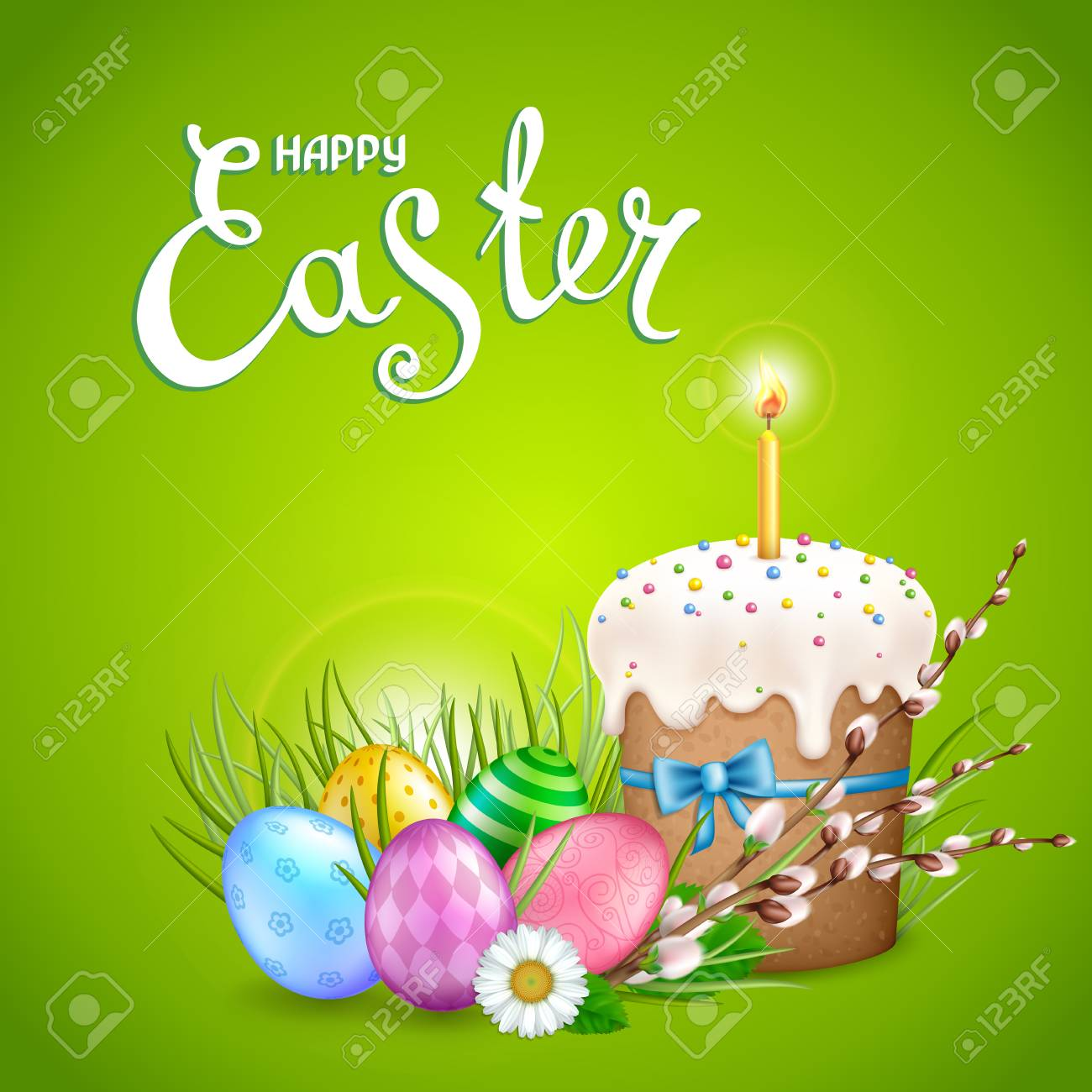 Easter Greeting Card With Realistic Glossy Eggs Cake Candle