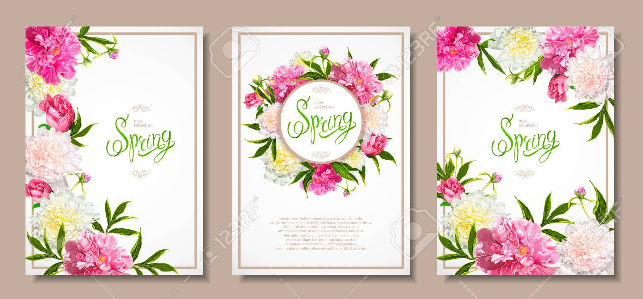 Set Of Three Floral Backgrounds With Blooming Pink And Light