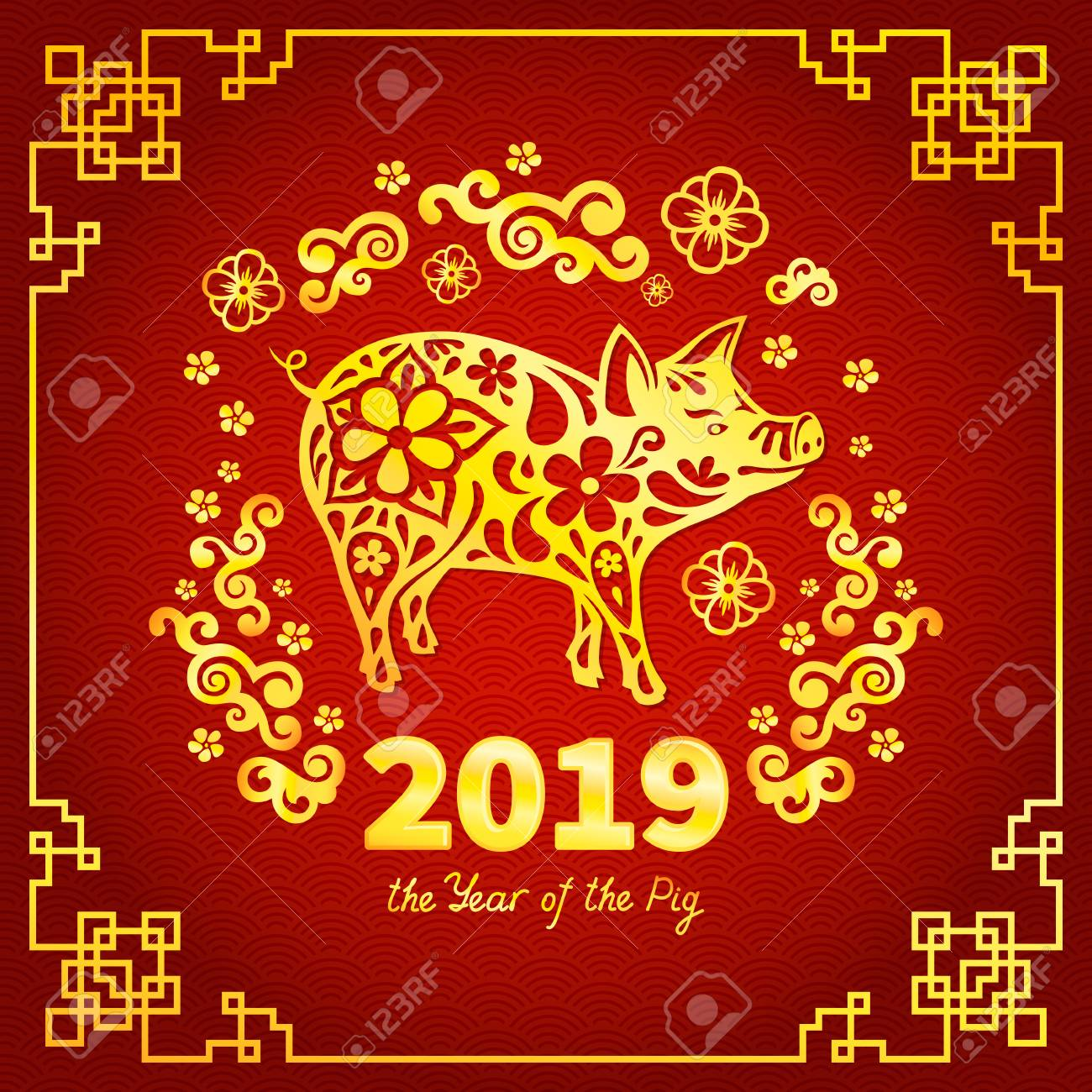 pig is a symbol of the 2019 chinese new year greeting card in oriental style