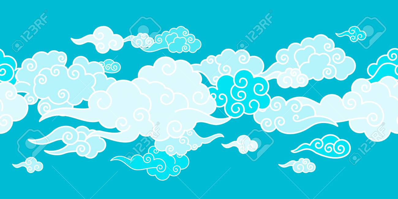 Seamless border with Chinese clouds different shapes. Template for oriental art decoration. - 114863317