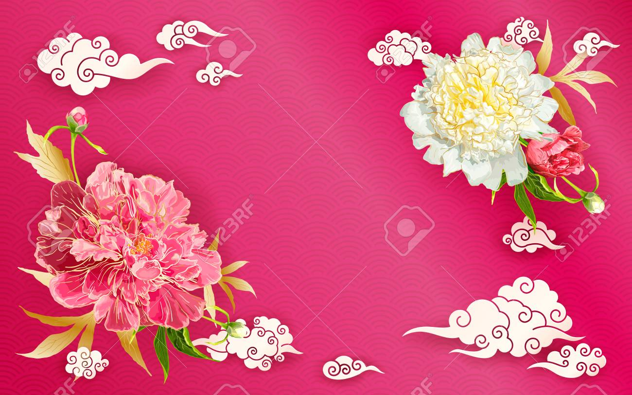 Oriental Background With Red And Pink Peonies Flowers Leaves Royalty Free Cliparts Vectors And Stock Illustration Image 114863318