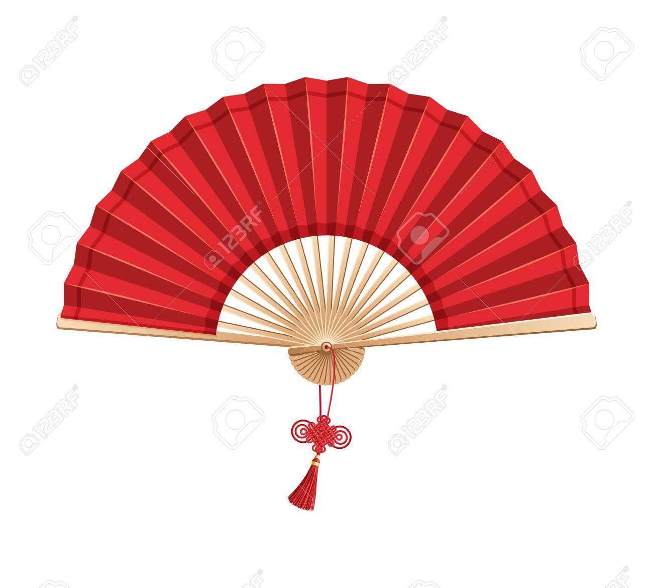 Red Chinese Hand Fan With Wishful Knot Isolated On White Background Royalty Free Cliparts Vectors And Stock Illustration Image 111967664