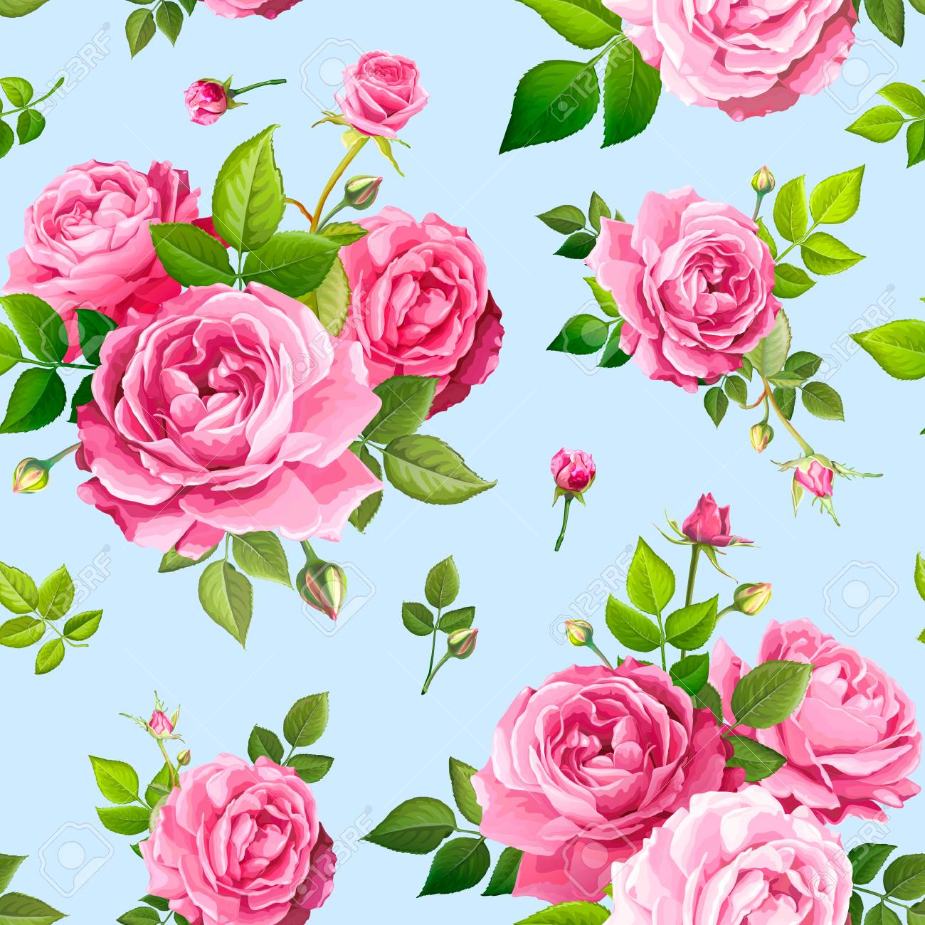 Beautiful spring or summer seamless pattern with bouquets flowers of pink blooming roses, green leaves and buds on a light blue background. Lovely floral design element of textile. Vector illustration - 127109026