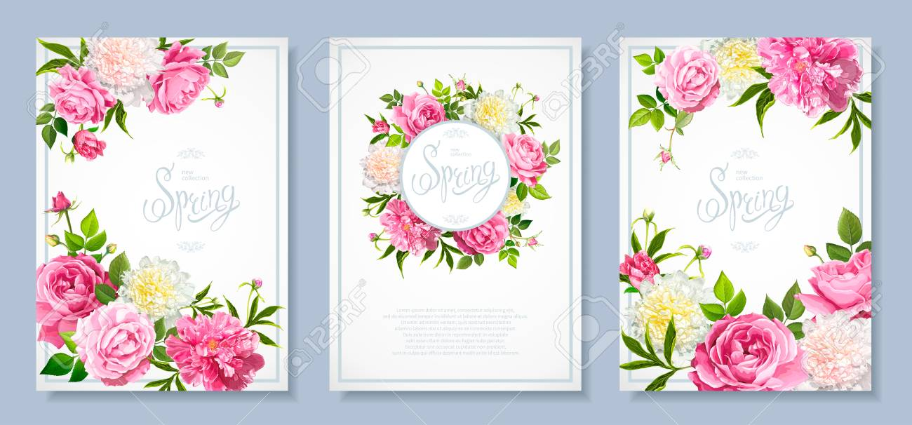 Set Of Three Floral Backgrounds With Blooming Flowers Of Pink