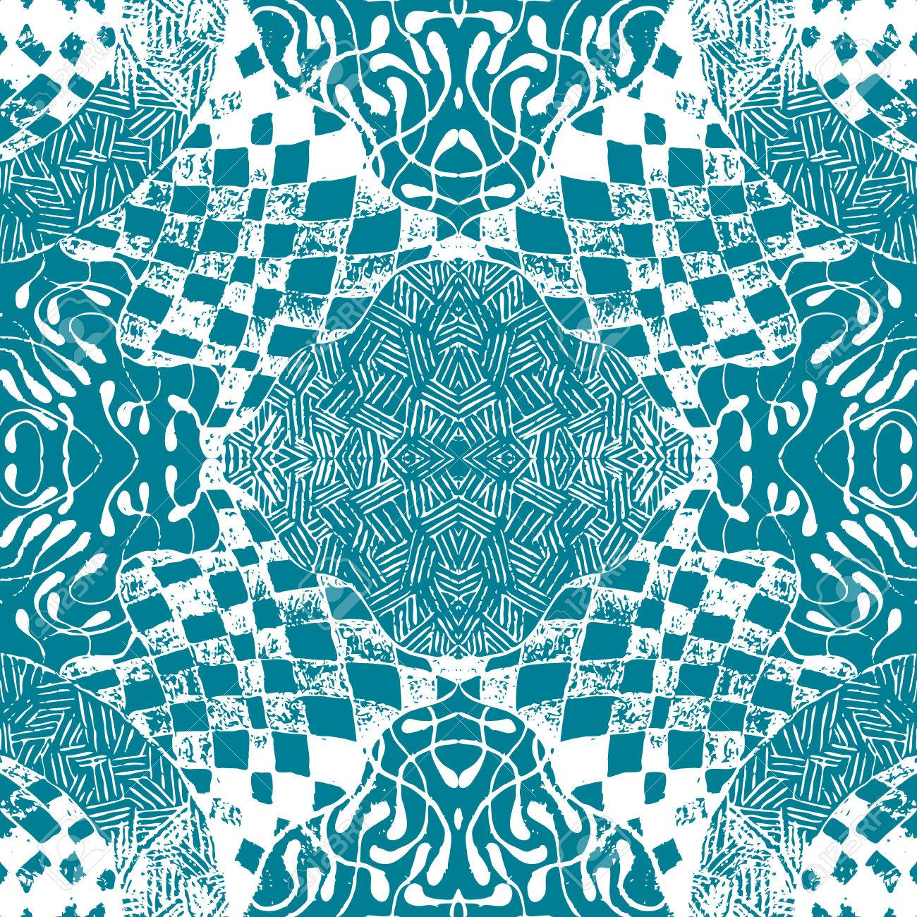 Blue Patterned Tiles In The Style Of Sentangle. Seamless Pattern ...