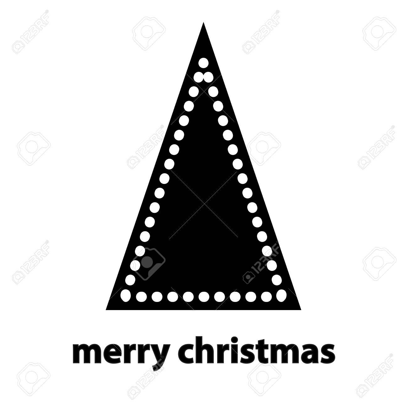 Simple Black Silhouette Of Triangle Christmas Tree With Balls On White Background Stock Vector