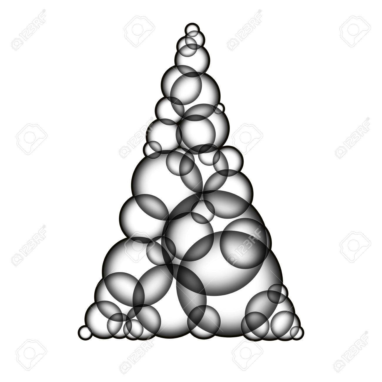 Simple Monochromatic Xmas Tree Made Form Bubbles Christmas From Transparent Glass Balls