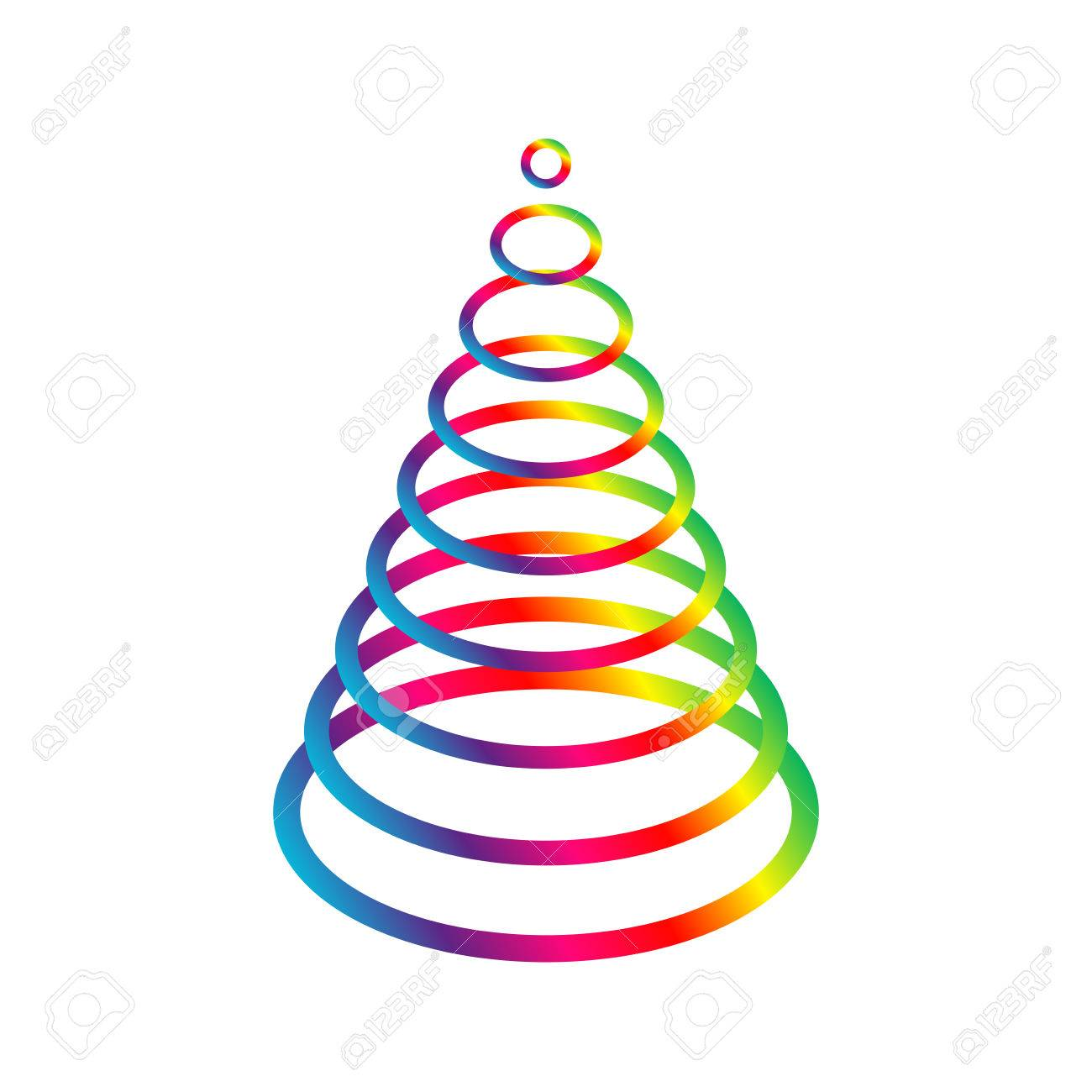 Simple Oval Rainbow Christmas Tree Elegant Spectrum Xmas Made From Rigs On White