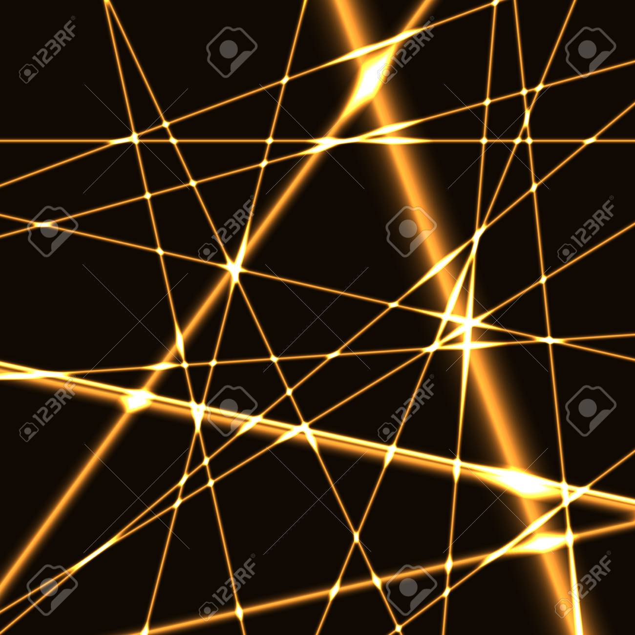 lighting beams. Golden Lighting Beams Of Laser On Dark Background. Technology Background With Light Rays Or Lines A