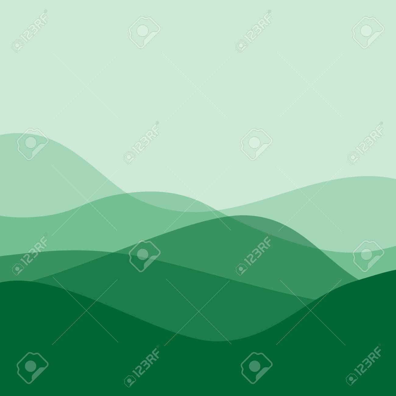Diseño Plano Ondas Verdes O Colinas En El Paisaje. Plantilla Simple ...
