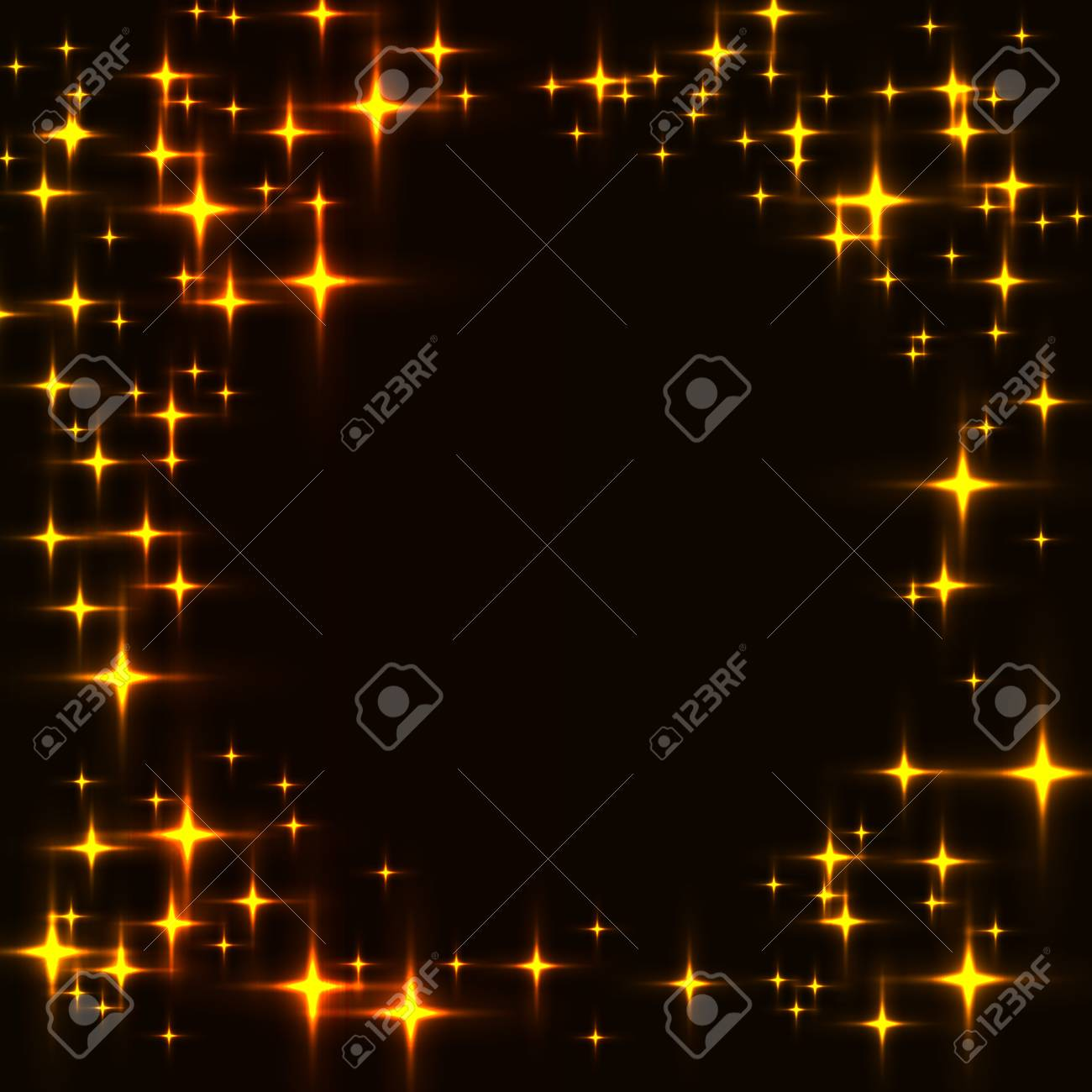 dark template with border made from golden shinning stars black