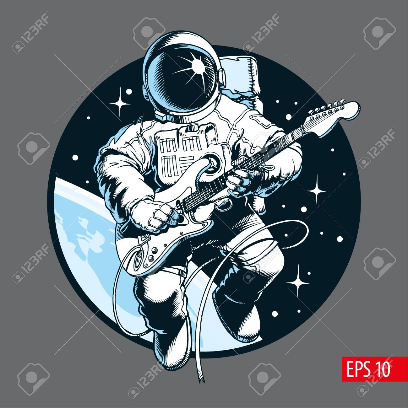 Astronaut playing electric guitar in space. Space tourist. Comic style vector illustration. - 119865813