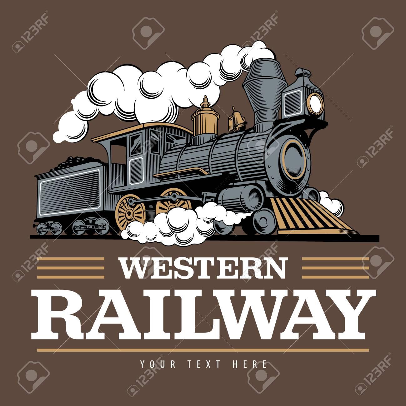 Vintage steam train locomotive, engraving style vector illustration. On brown background. Logo design template. - 119865822
