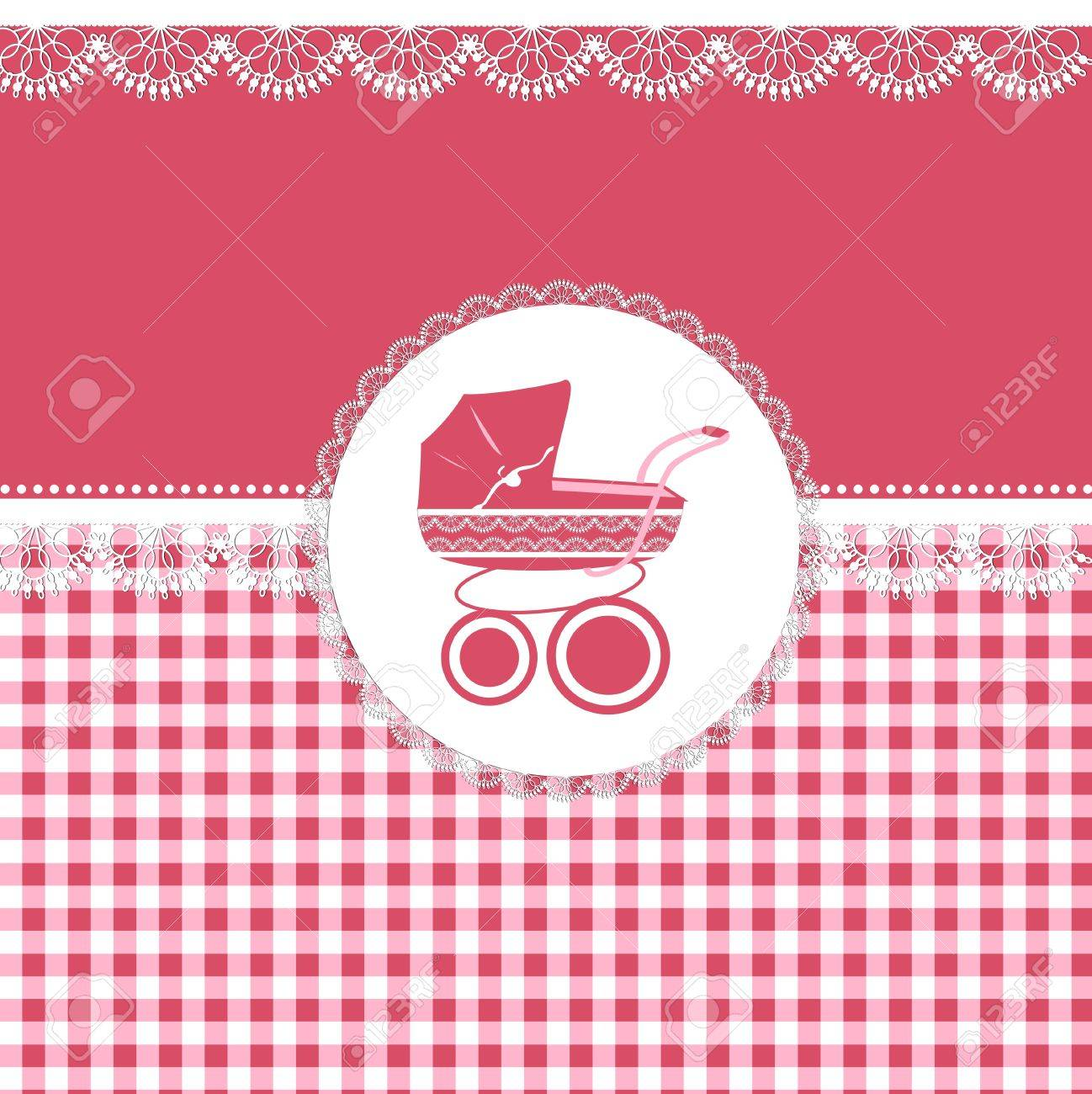 Card for baby girl in pink tones with patterns and sidecar Stock Vector - 21006500