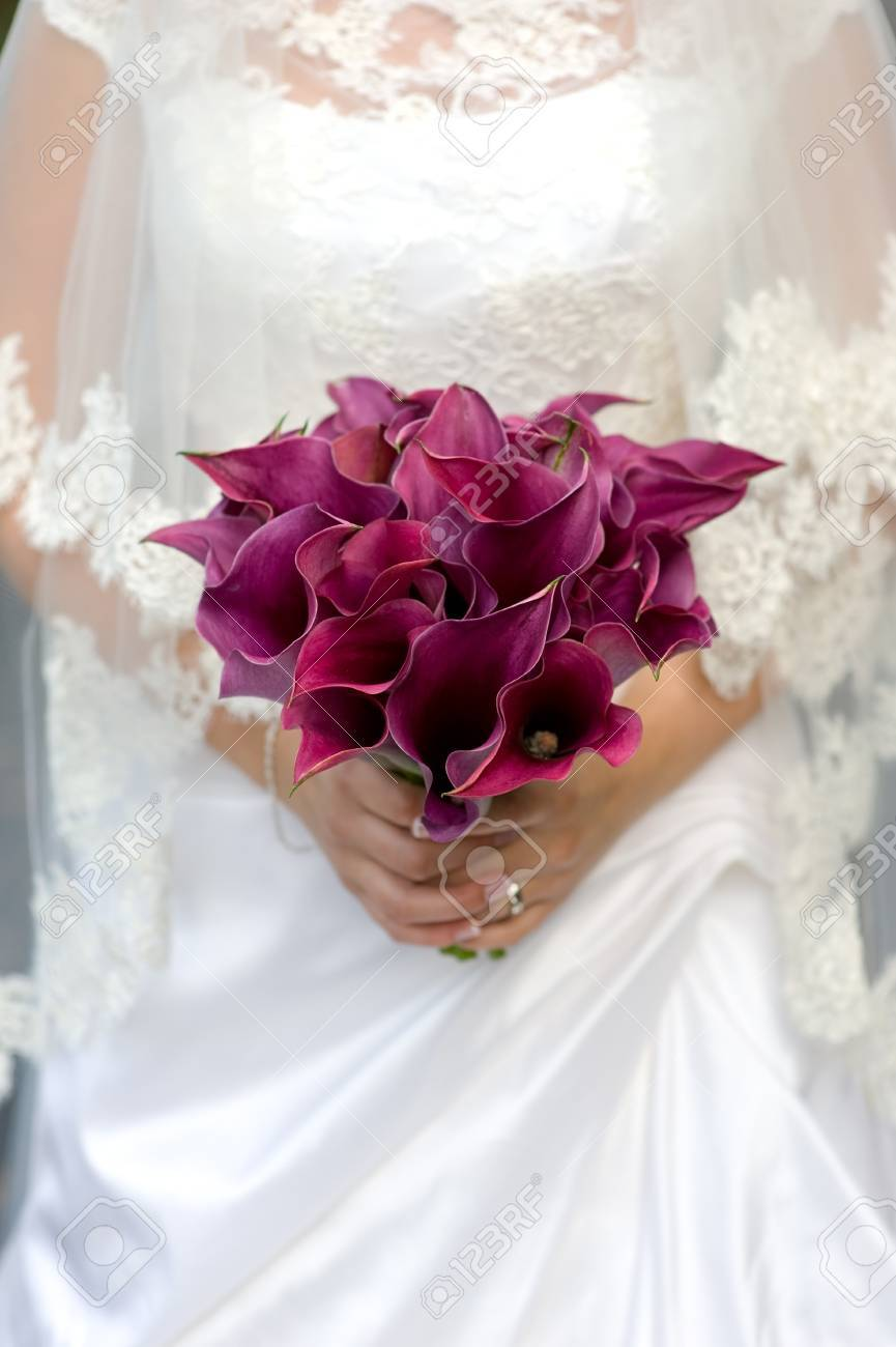 Bride holding a bouquet of purple lily flowers stock photo picture bride holding a bouquet of purple lily flowers stock photo 15564400 izmirmasajfo