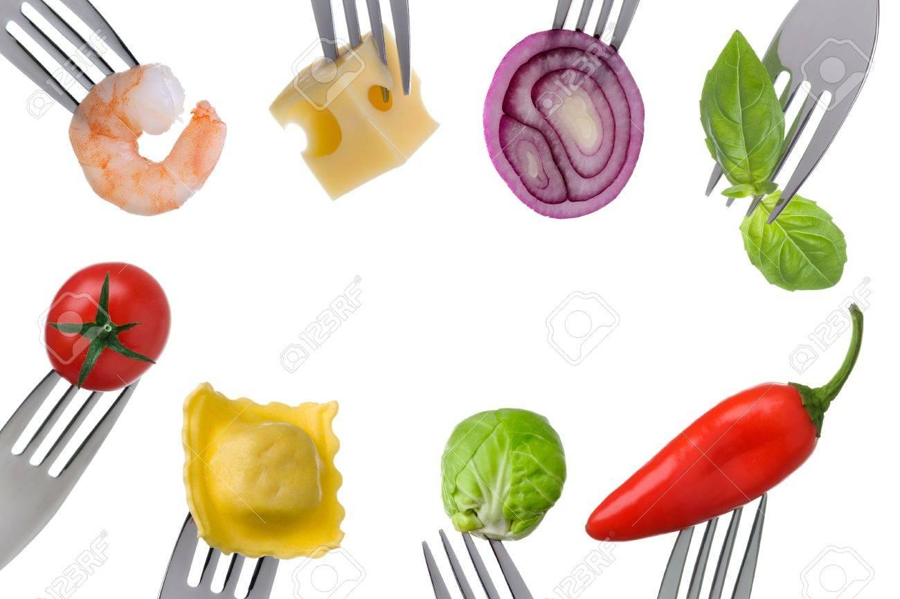 Gesunde Und Ausgewogene Nahrung Auf Gabeln In Einem Rahmen Mit ...