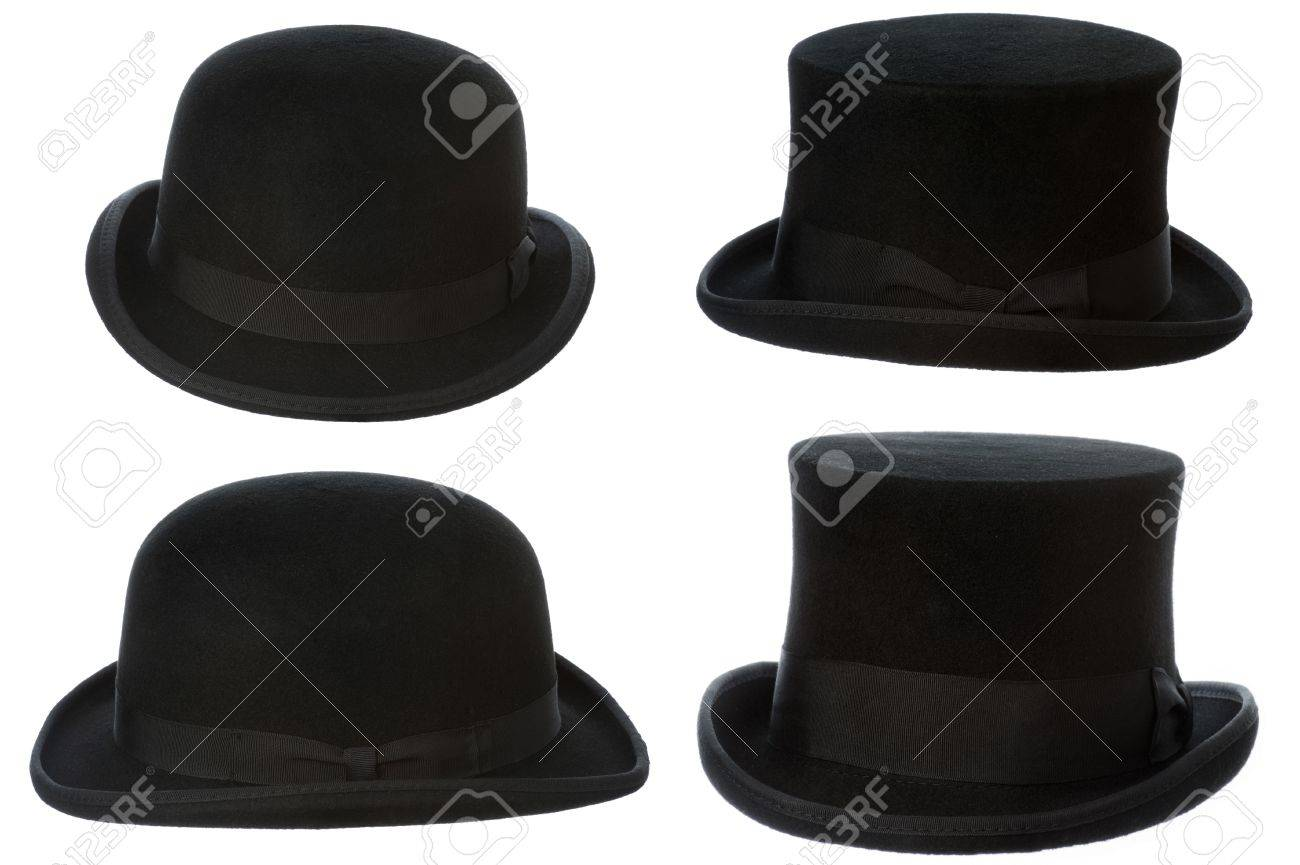 front and side view of top hat and bowler isolated on white Stock Photo -  18976958 b814fb3ca42