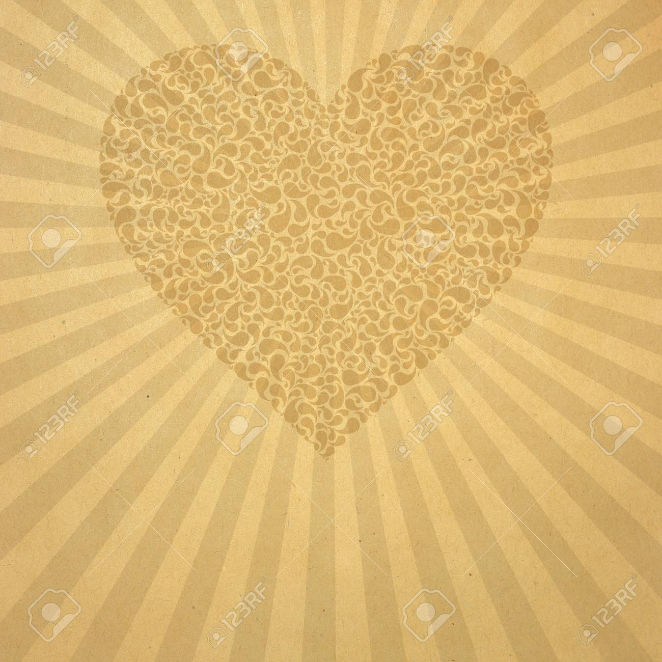Vintage aged beige old paper with pattern heart Stock Photo - 8992571