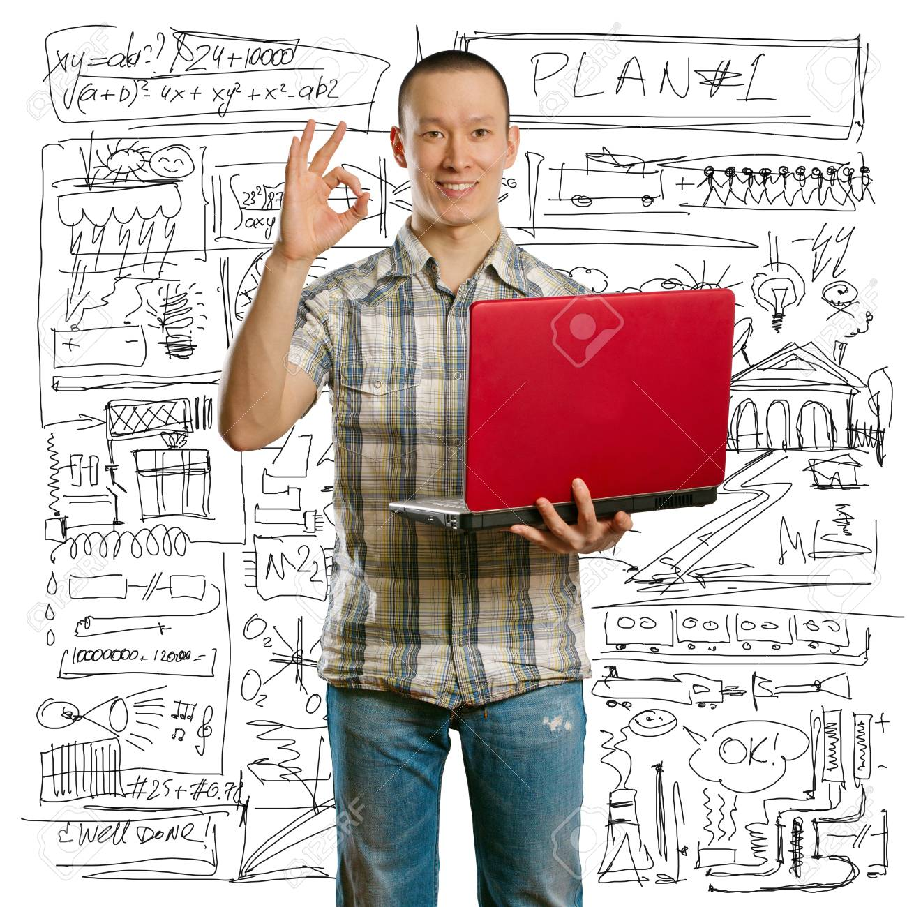 asian male with laptop in his hands shows OK, looking on camera Stock Photo - 9180387