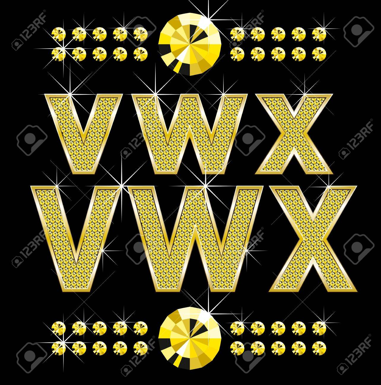 set of golden metall diamond letters and numbers big and small Stock Vector - 9336223