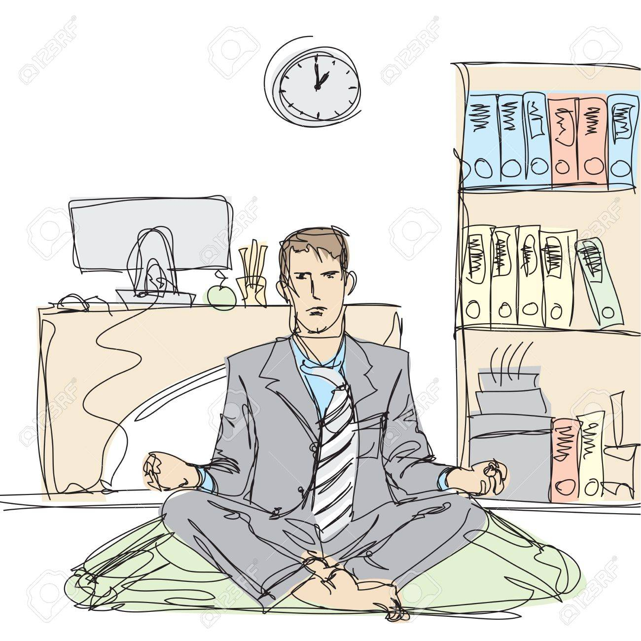 businessman in lotus pose meditating at the office Stock Vector - 9391625