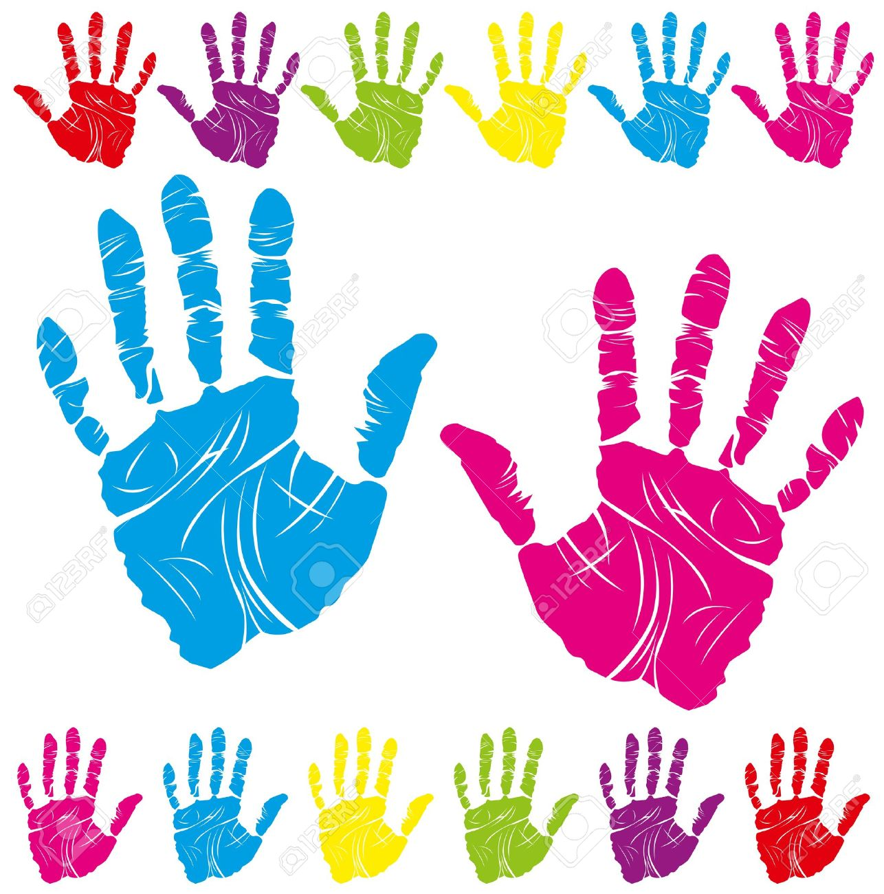 vector color children's and parents' handprints means different symbols Stock Vector - 9563680