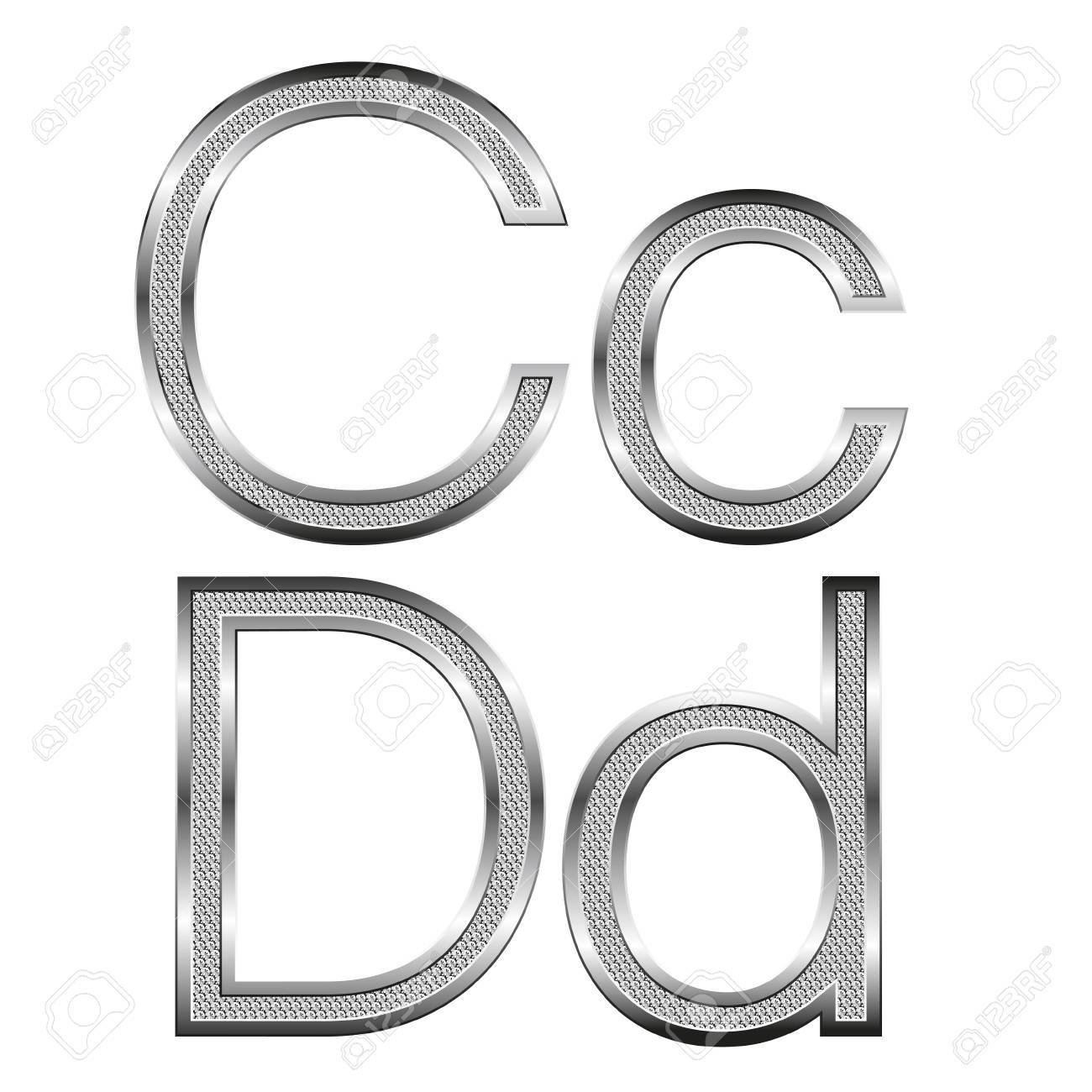 vector set of thin diamond metal letters on white Stock Vector - 9564184