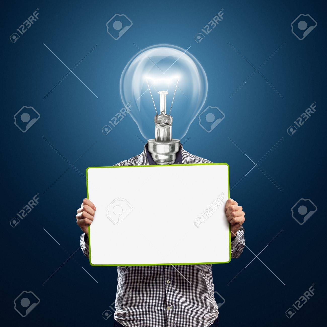 lamp head businessman holding empty write board in his hands Stock Photo - 9712577