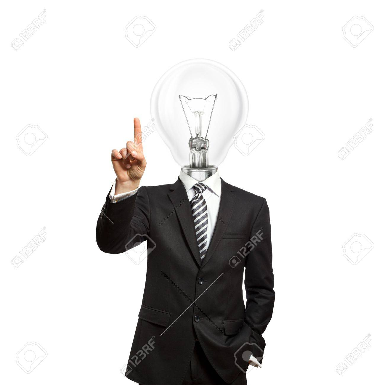 businessman with lamp-head push the button on virtual touch pad Stock Photo - 9712620