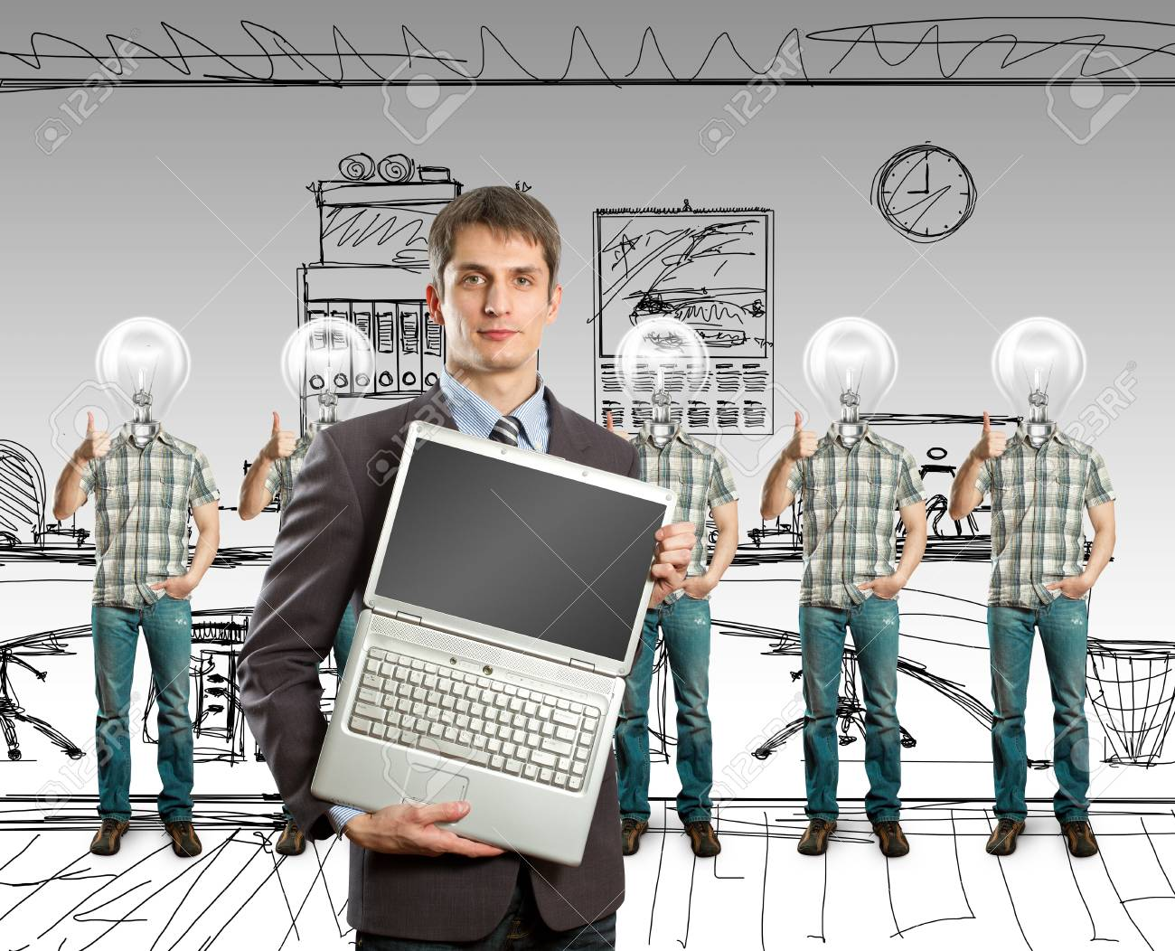 lamp head businesspeople with shows well done Stock Photo - 9955014