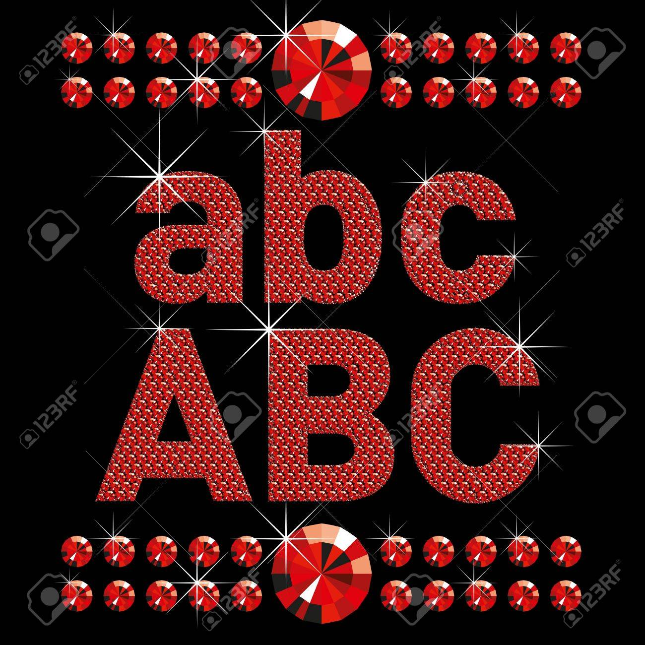 vector set of red diamond letters and numbers big and small Stock Vector - 9955112