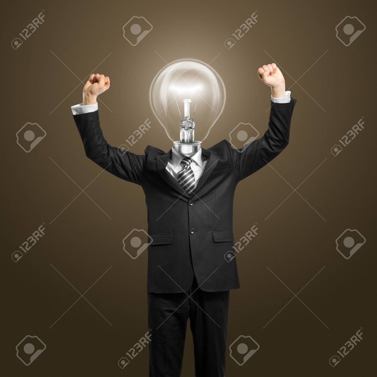 excited lamp-head businessman with hands up Stock Photo - 10224824